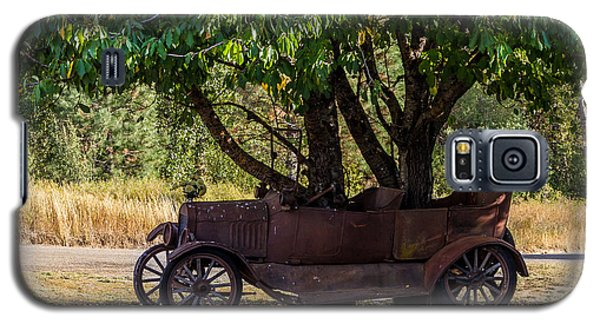 Galaxy S5 Case featuring the photograph Tree Growing Out Of Old Car - 2  by Rob Green