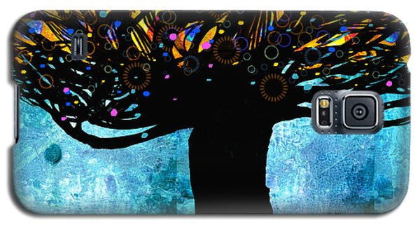 Tree Of Life Blue And Yellow Galaxy S5 Case by Ann Powell