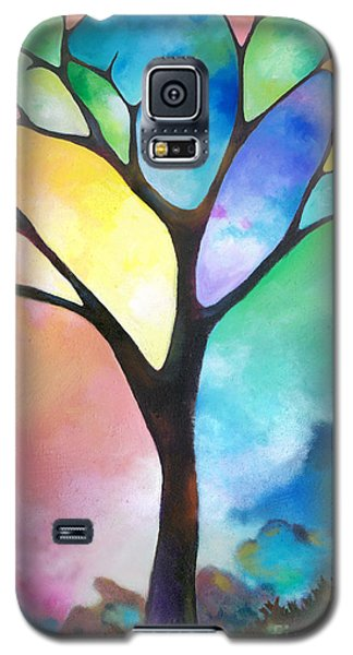 Original Art Abstract Art Acrylic Painting Tree Of Light By Sally Trace Fine Art Galaxy S5 Case by Sally Trace
