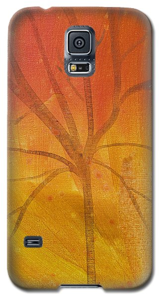 Galaxy S5 Case featuring the painting Tree Of Three Gold by Robin Maria Pedrero