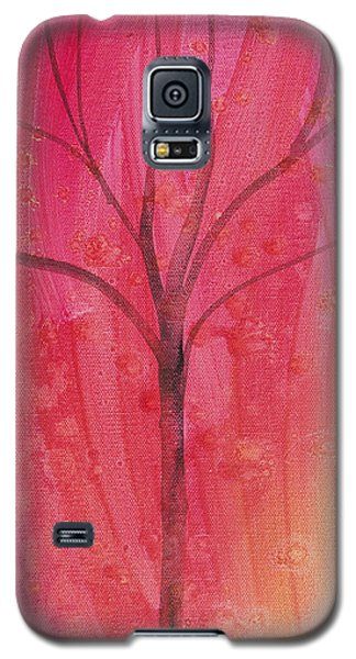 Galaxy S5 Case featuring the painting Tree Of Three Pink by Robin Maria Pedrero