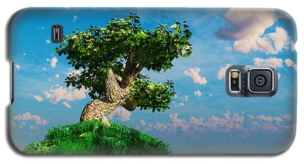 Galaxy S5 Case featuring the digital art Tree On A Steep Hill... by Tim Fillingim