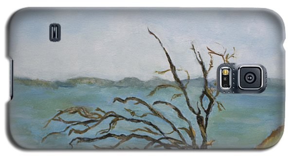 Galaxy S5 Case featuring the painting Tree On The Hudson River by Aleezah Selinger