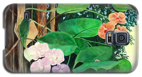 Galaxy S5 Case featuring the painting Tree Orchids by Nancy Czejkowski