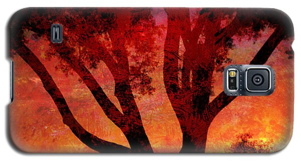Galaxy S5 Case featuring the mixed media Tree Silhouette In Sunset Abstraction by John Fish