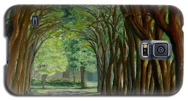 Galaxy S5 Case featuring the painting Treelined Walkway At Lsu In Shreveport Louisiana by Lenora  De Lude