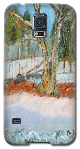 Galaxy S5 Case featuring the painting Trees And Snow Plein Air by Michael Daniels