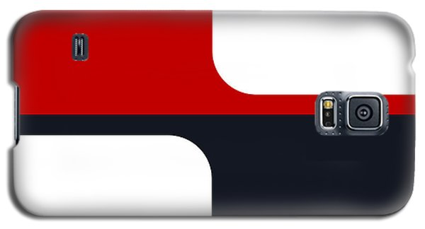 Galaxy S5 Case featuring the digital art Trendy White Red And Navy Graphic Color Blocks by Tracie Kaska
