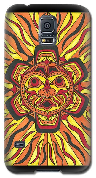 Galaxy S5 Case featuring the painting Tribal Sunface Mask by Susie Weber