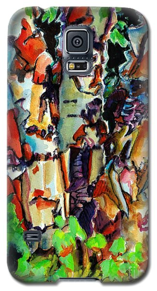 Galaxy S5 Case featuring the painting Trio Birch 2014 by Kathy Braud