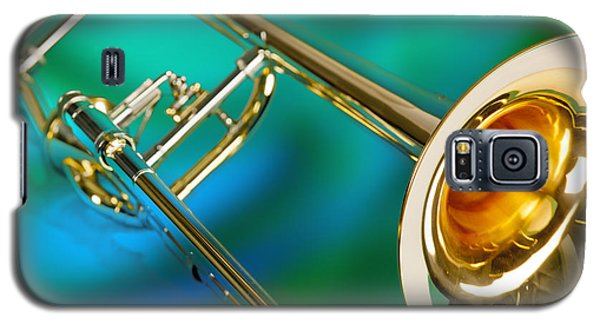 Trombone Against Green And Blue In Color 3204.02 Galaxy S5 Case