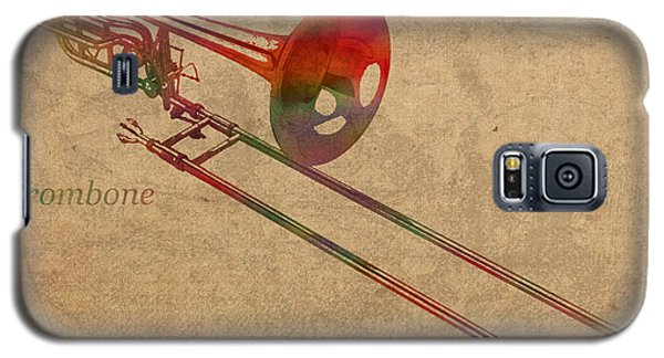 Trombone Galaxy S5 Case - Trombone Brass Instrument Watercolor Portrait On Worn Canvas by Design Turnpike
