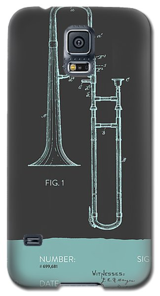 Trombone Patent From 1902 - Modern Gray Blue Galaxy S5 Case by Aged Pixel