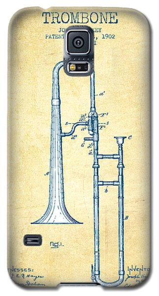 Trombone Patent From 1902 - Vintage Paper Galaxy S5 Case by Aged Pixel