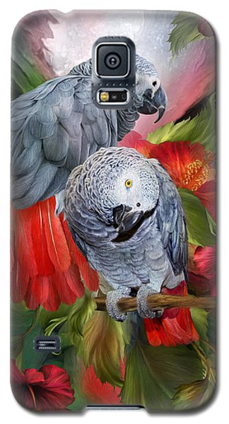 Parrot Galaxy S5 Case - Tropic Spirits - African Greys by Carol Cavalaris