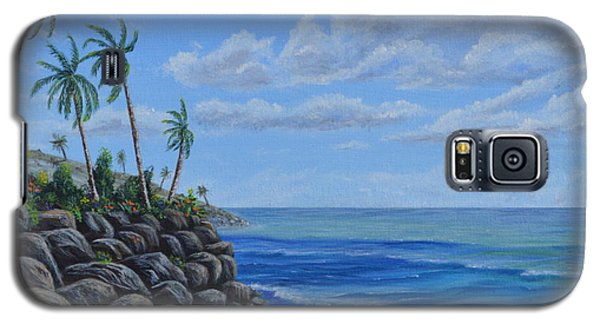 Galaxy S5 Case featuring the painting Tropical Day by Mary Scott
