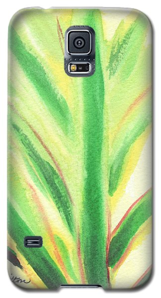 Galaxy S5 Case featuring the painting Tropical Leaf by C Sitton