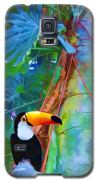 Galaxy S5 Case featuring the digital art Tropical Toucan by Kathleen Holley