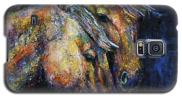 True Companions Contemporary Horse Painting Galaxy S5 Case by Jennifer Godshalk