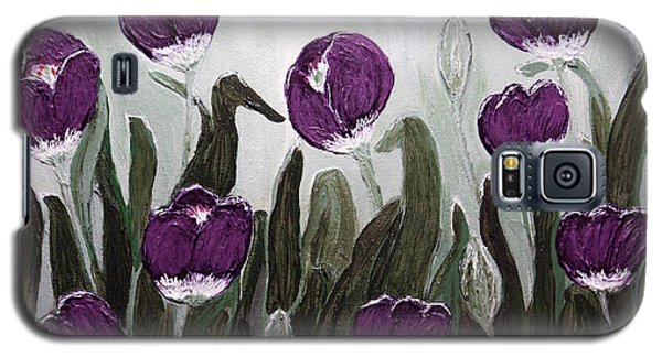 Galaxy S5 Case featuring the painting Tulip Festival Art Print Purple Tulips From Original Abstract By Penny Hunt by Penny Hunt