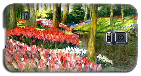 Galaxy S5 Case featuring the painting Tulip Gardens by Lori Ippolito
