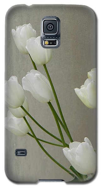 Galaxy S5 Case featuring the photograph Tulips Against Pillar by Jean Goodwin Brooks