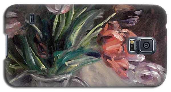 Galaxy S5 Case featuring the painting Tulips by Donna Tuten