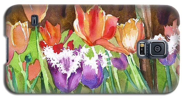 Galaxy S5 Case featuring the painting Tulips In Spring by Yolanda Koh