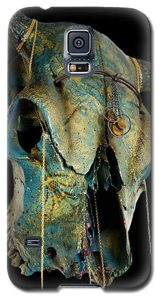 Turquoise And Gold Illuminating Steer Skull Galaxy S5 Case by Mayhem Mediums