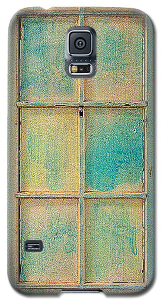 Galaxy S5 Case featuring the painting Turquoise And Pale Yellow Panel Door by Asha Carolyn Young