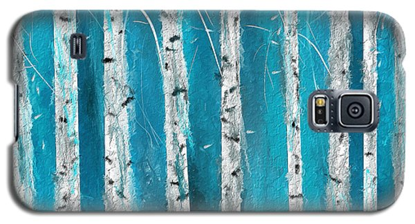 Turquoise Birch Trees II- Turquoise Art Galaxy S5 Case