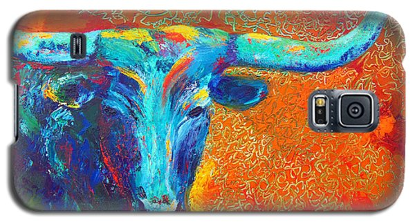 Galaxy S5 Case featuring the painting Turquoise Longhorn by Karen Kennedy Chatham