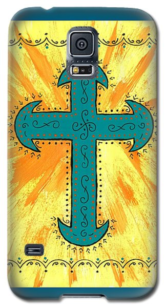 Galaxy S5 Case featuring the painting Turquoise Southwestern Cross by Susie Weber