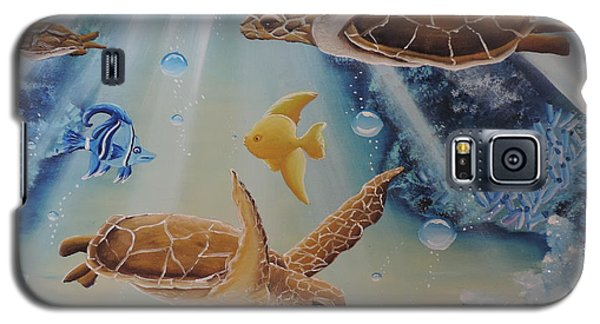 Galaxy S5 Case featuring the painting Turtles At Sea #2 by Dianna Lewis