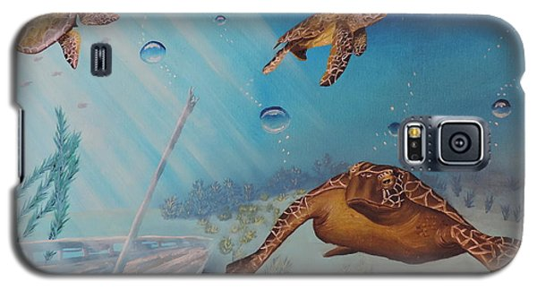 Galaxy S5 Case featuring the painting Turtles At Sea by Dianna Lewis