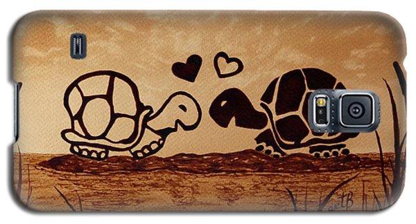Turtles Love Coffee Painting Galaxy S5 Case by Georgeta  Blanaru