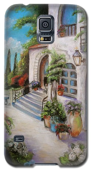 Galaxy S5 Case featuring the painting Tuscan Courtyard by Melinda Saminski