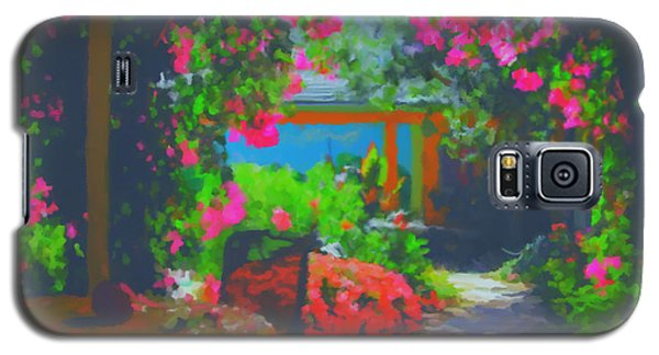 Galaxy S5 Case featuring the painting Tuscan Courtyard by Tim Gilliland