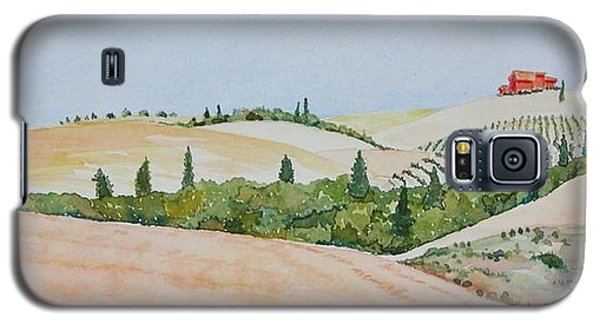 Galaxy S5 Case featuring the painting Tuscan Hillside One by Mary Ellen Mueller Legault
