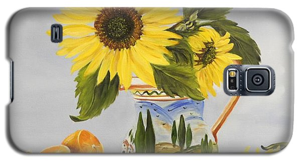 Galaxy S5 Case featuring the painting Tuscan Pitcher And Sunflowers by Carol Sweetwood
