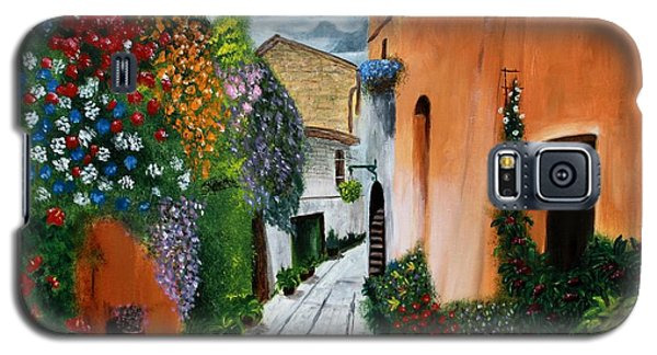 Galaxy S5 Case featuring the painting Tuscan Street Scene by Bev Conover