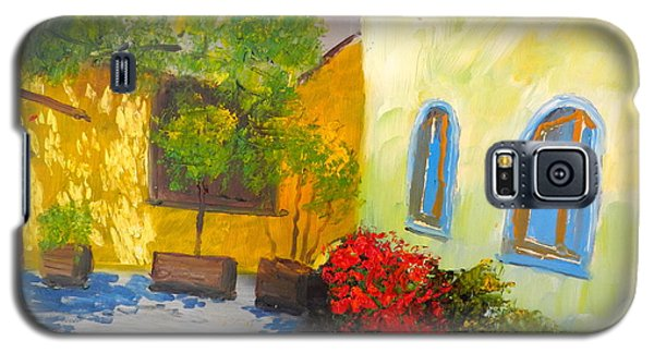 Galaxy S5 Case featuring the painting Tuscany Courtyard 2 by Pamela  Meredith