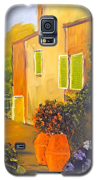 Galaxy S5 Case featuring the painting Tuscany Courtyard by Pamela  Meredith