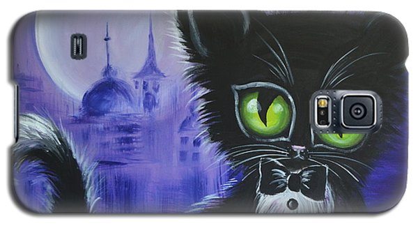 Galaxy S5 Case featuring the painting Tuxedo Cat by Agata Lindquist