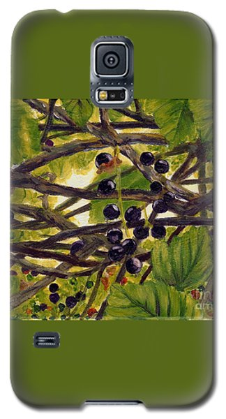 Galaxy S5 Case featuring the painting Twigs Leaves And Wild Berries by Jingfen Hwu