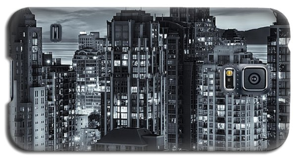 Galaxy S5 Case featuring the photograph Twilight On Cityscape Of Vancouver Overlooking English Bay - Greeting Card by Amyn Nasser