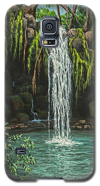Galaxy S5 Case featuring the painting Twin Falls by Darice Machel McGuire