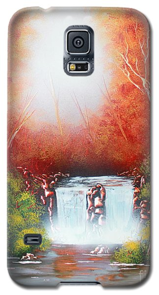 Galaxy S5 Case featuring the painting Twin Falls  by Greg Moores