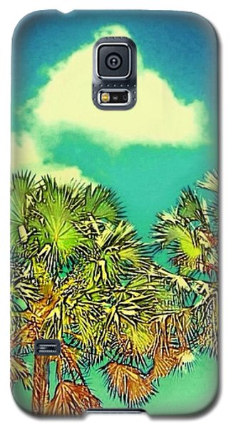 Twin Palms With Aqua Sky - Vertical Galaxy S5 Case