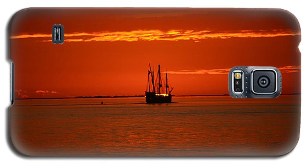 Galaxy S5 Case featuring the photograph Two 3-masted Schooners Sail Off Into The Santa Rosa Sound Sunset by Jeff at JSJ Photography